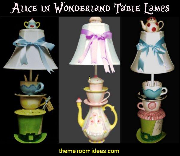 Mad Hatter Tea Party Lamp alice in wonderland table lamps alice in wonderland bedroom decor alice bedrooms
