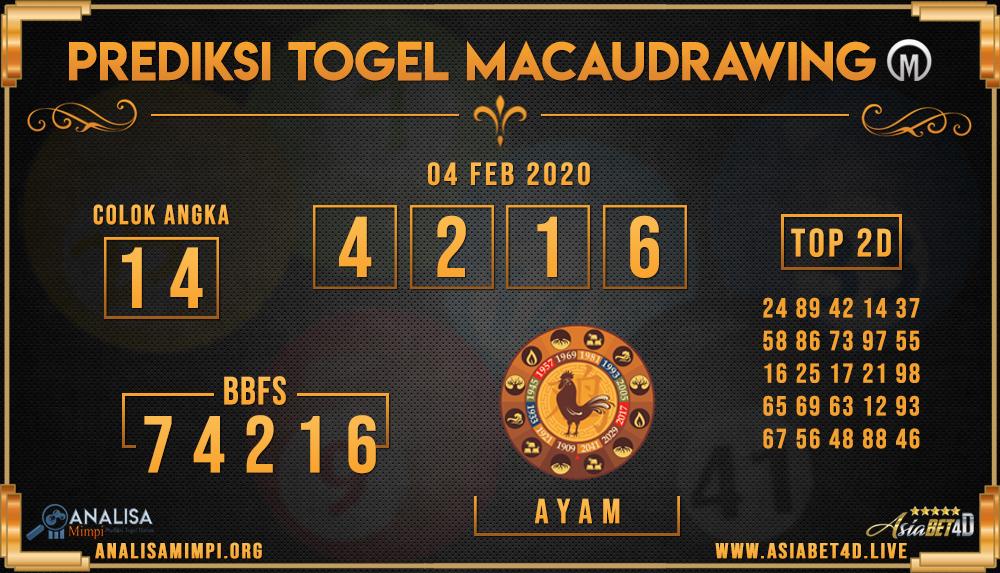PREDIKSI TOGEL MACAU DRAWING SELASA 04 FEB 2020