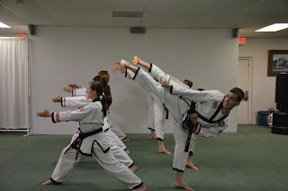 Martial arts black belts performing side kicks and spear finger strikes