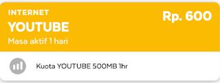 Daftar Paket Youtube Axis 500 MB Cuma Rp 600