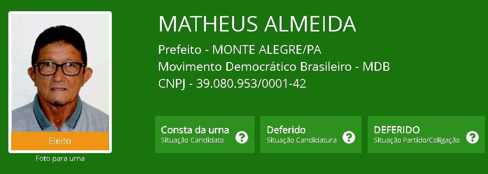 MP pede a cassação do prefeito eleito de Monte Alegre, Matheus Almeida, e do vice