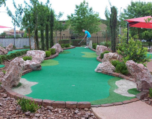 Playing minigolf at The Putt Park in Las Vegas