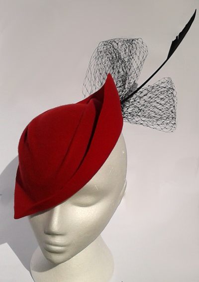 Red wool felt blocked vintage style hat refashioned