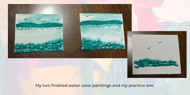 two completed watercolor pictures; one practice watercolor picture