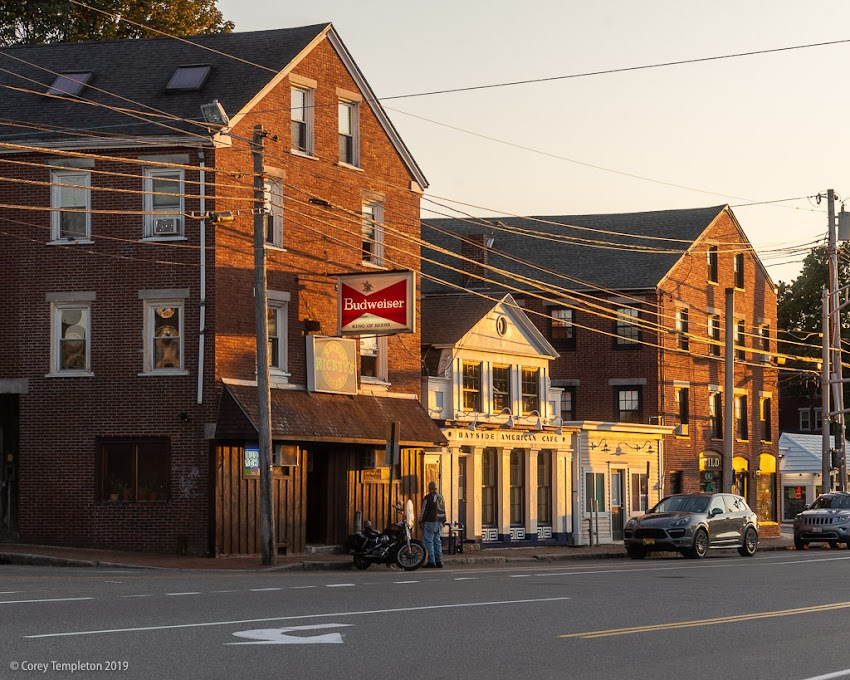 Portland, Maine USA September 2019 photo by Corey Templeton. A bit of afternoon sun on a slice of Portland Street.