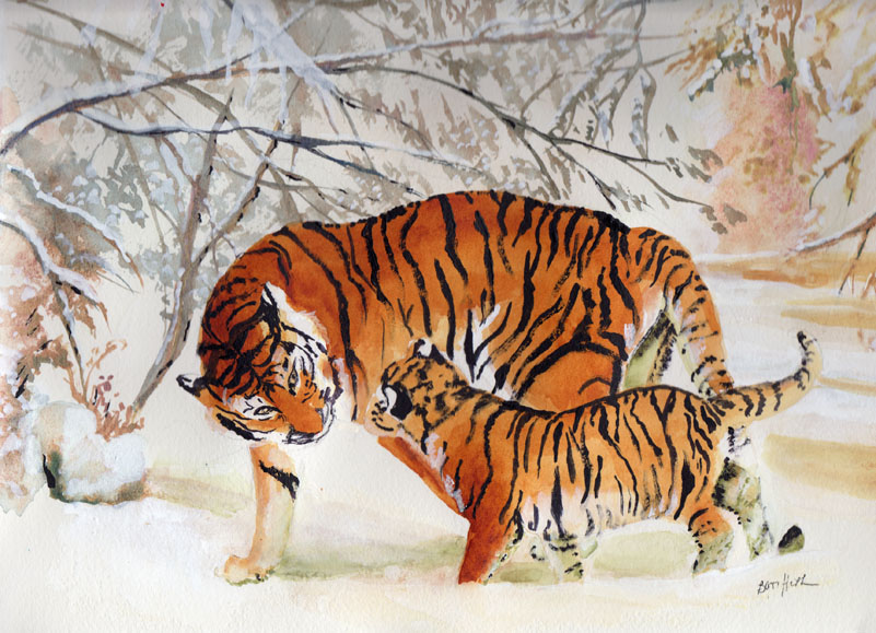 Bunny's Artwork: Tigers Playing in the Snow Watercolor ...