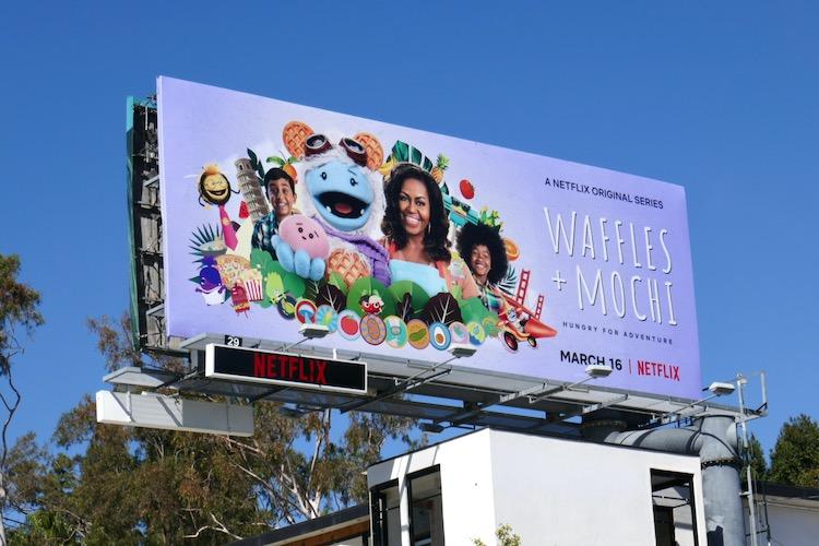Waffles + Mochi series launch billboard