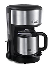 Russell Hobbs 20140-56 Macchina Caffè, Migliore Temperatura e Qualità Del Caffè, Timer Digitale Programmabile, Caraffa in Vetro, 1000W, Acciaio Lucido