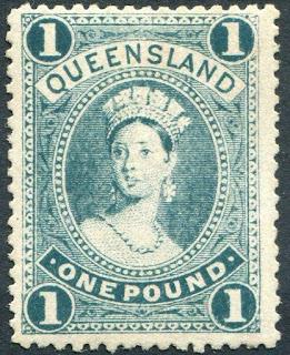 Australia Queensland 1907-11 £1 Deep bluish green