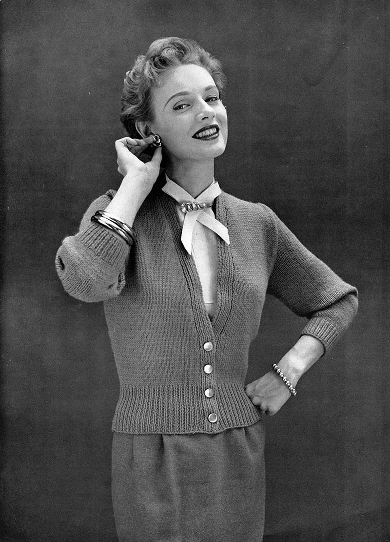 Classic Cardigan Knitting Pattern : The Vintage Pattern Files: 1950s Knitting - Cardigan Sweater