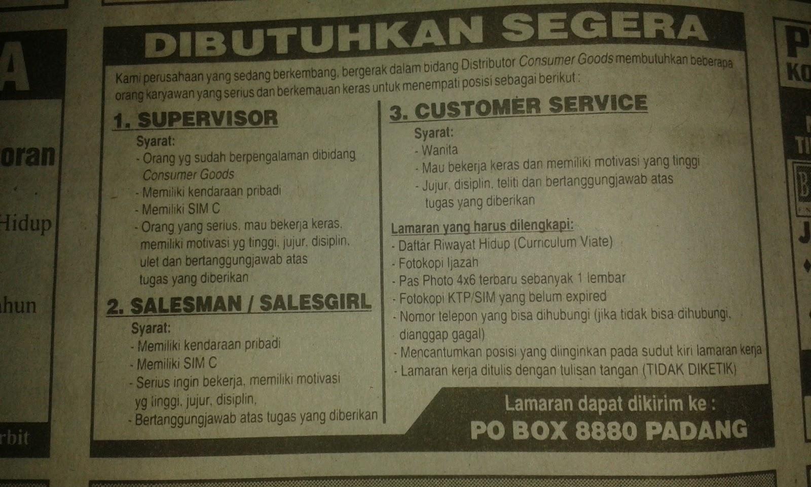 Lowongan Kerja Distributor Consumer Goods