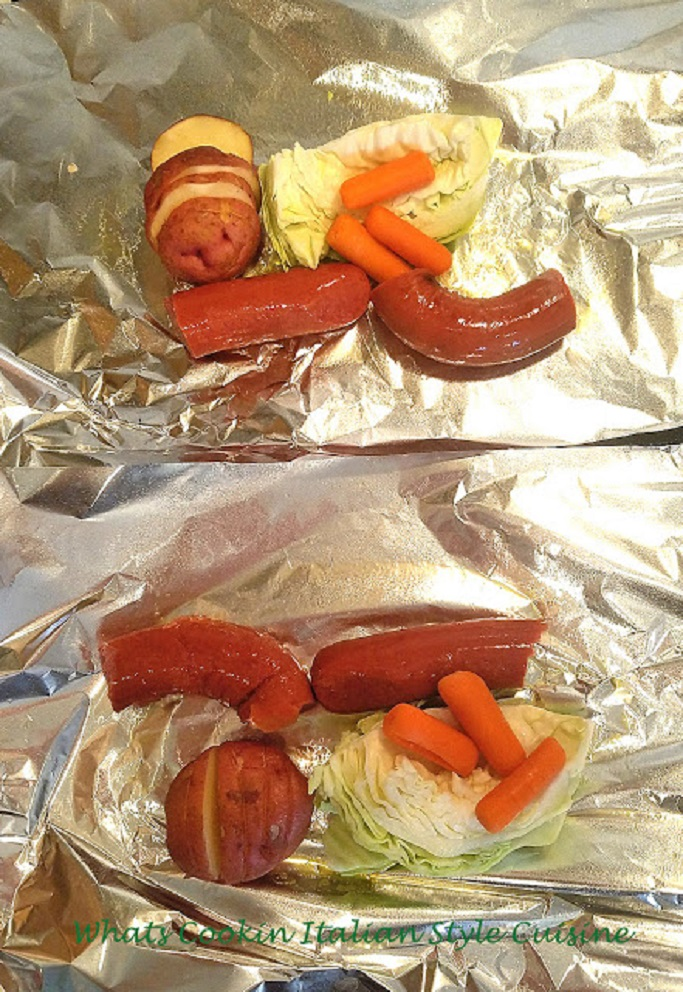 foil packets filled with kielbasa or any kind of meat with vegetables wrapped in foil grilled or baked for a fun package and surprise all in one dinner foil packets for dinner