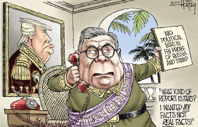 Bill Barr in banana-republic style uniform bearing a sash reading