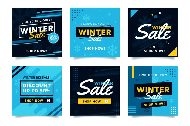 Winter sale instagram post collection Free Vector Banners Templates