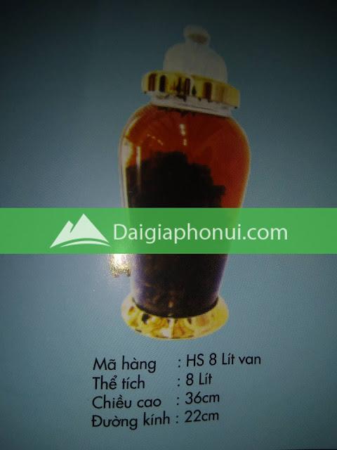 thông số bình ngâm rượu Phú Hoà mã số HS 8 LÍT VAN/VÒI