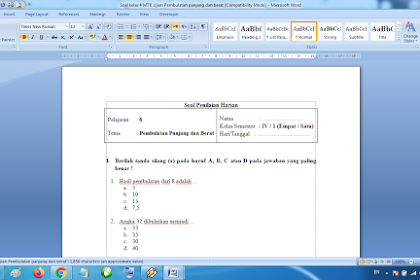 Soal Penilaian Harian Matematika Kelas 4 Ujian Pembulatan Panjang dan Berat Kurikulum 2013 Revisi Terbaru