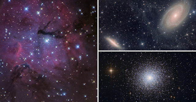 Processed Starbase sample images of The Gum 15 Nebula in Vela (left) imaged on ATEO-3, M81 and M82 Bodes and Cigar Galaxies (upper right) imaged on ATEO-1 and M13, The Great Globular Cluster in Hercules (lower right) imaged on ATEO-1.