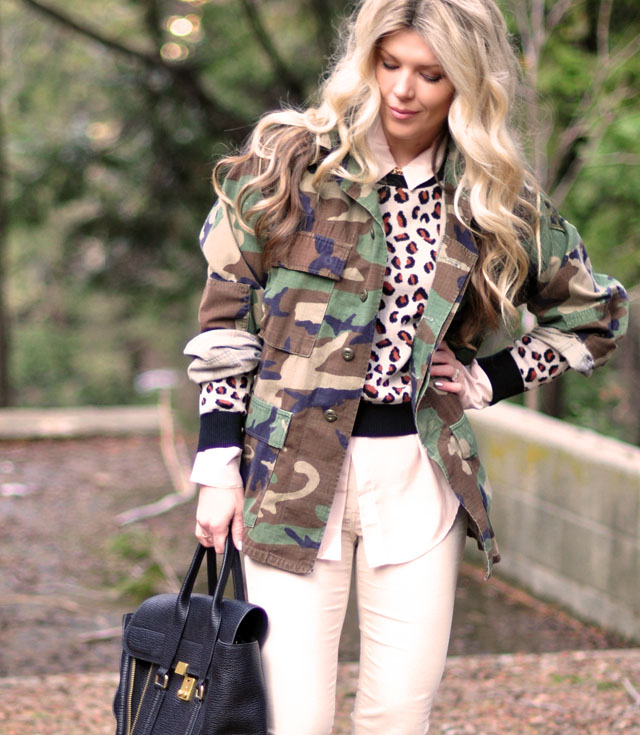 camo jacket, cheetah sweater
