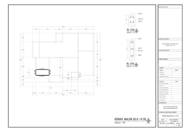 Denah Balok Rumah Lantai 1 - EL+3,7 m