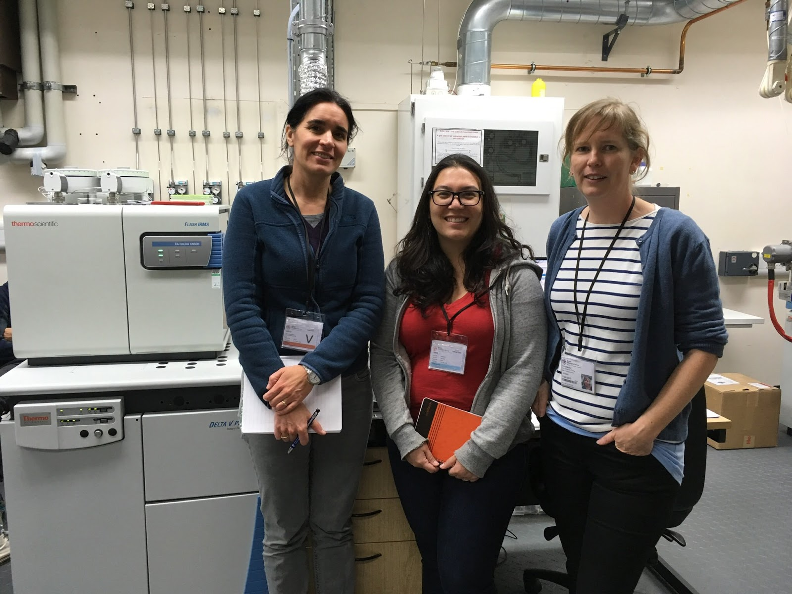 (L-R) Rana Özbal, Hannah Lau and Emma Baysal during their visit to the Stable Isotope Facility.