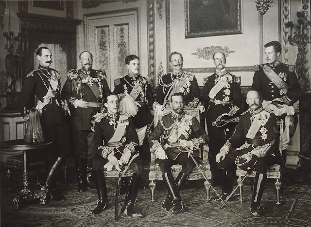 The Nine Sovereigns at Windsor for the funeral of King Edward VII, photographed on 20 May 1910.