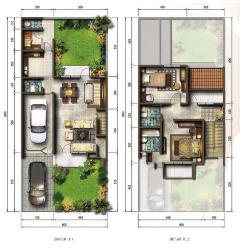 7 denah rumah minimalis ukuran 8x18 meter 3 kamar tidur 2