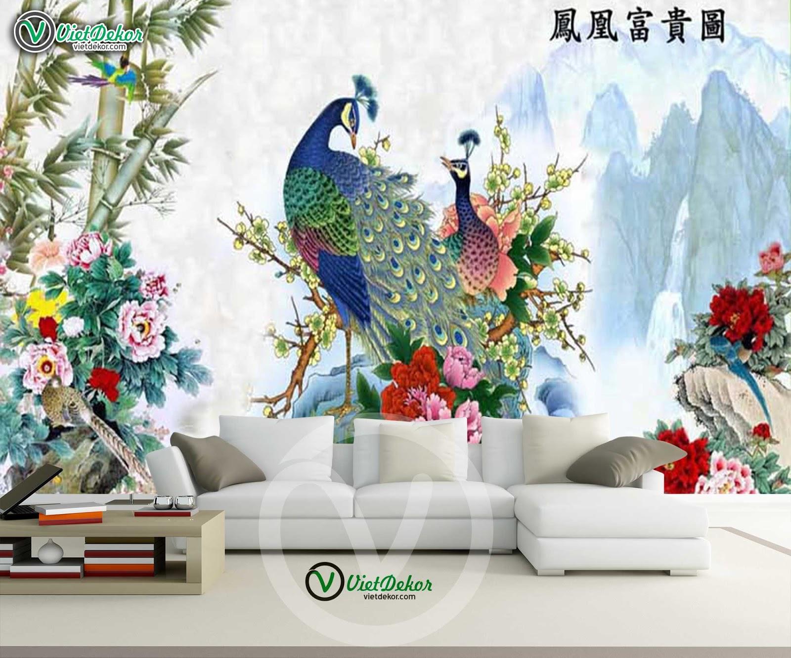 Tranh khổng tước và hoa mẫu đơn đẹp cho pho9ng khách phòng làm việc