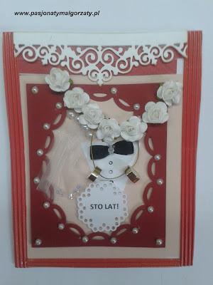 kartka dla nowożeńców, welon, koszuka , mucha