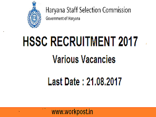 Haryana SSC Advt.07 & 08/2017 Notification
