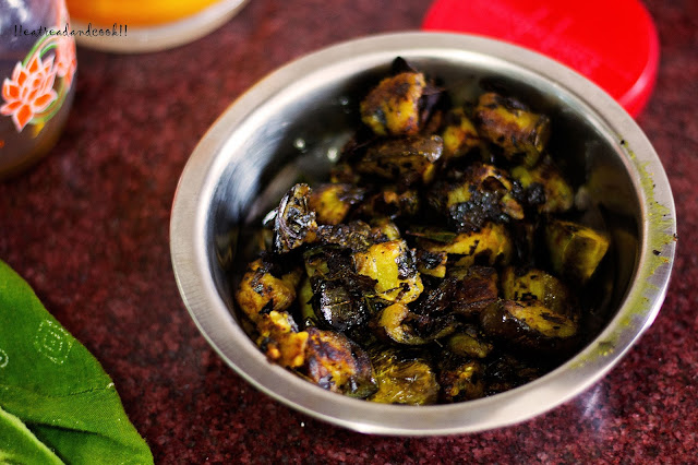 how to make Neem Begun Bhaja / Bengali style stir fried Neem leaves with eggplant recipe and preparation with step by step pictures
