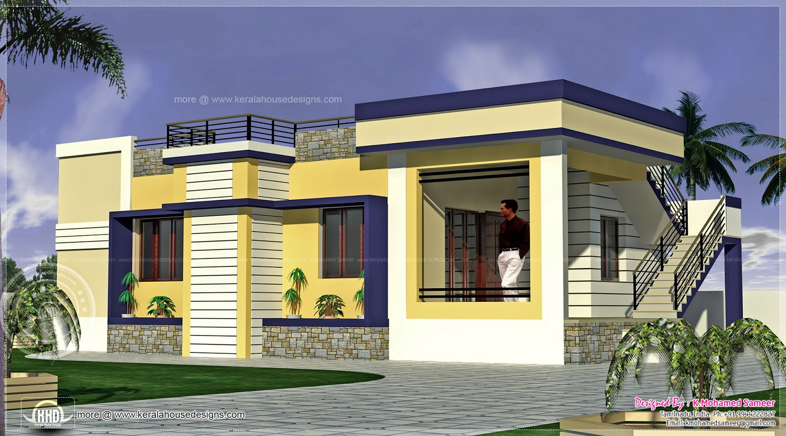 1000 square feet tamilnadu style home kerala home design for Indian home exterior design photos middle class