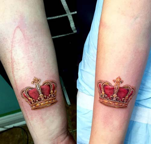 crown tattoo for couples çifler için kral kraliçe dövme modelleri