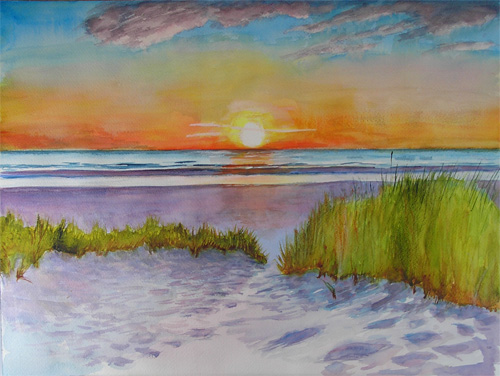Sunset At The Beach Watercolor Painting