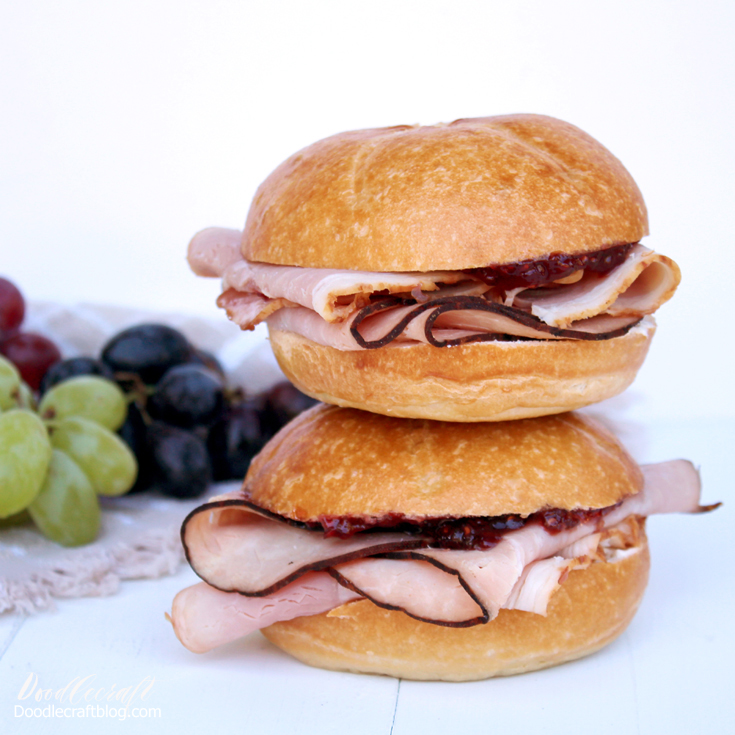 Cream Cheese, raspberry jam and ham on a fresh roll makes the most delicious sandwich.
