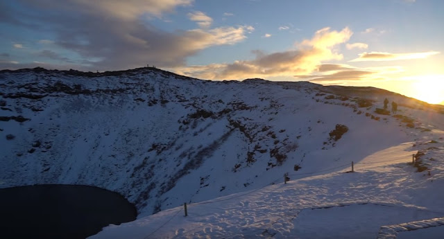 iceland kerid crater in winter day