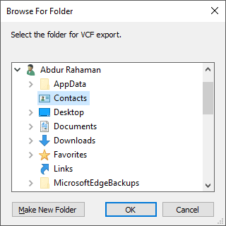Choosing a location to export