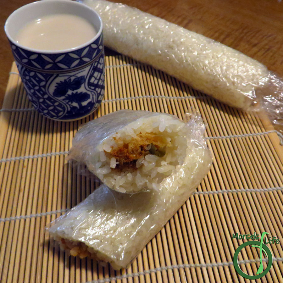 Morsels of Life - Sticky Rice Rolls (飯糰) - Chewy sticky rice surrounding crunchy cracklins, shredded pork floss, and pickled veggies makes for some scrumptiously yummy, although not quite conventional sticky rice rolls.