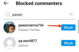 instagram comment block kare
