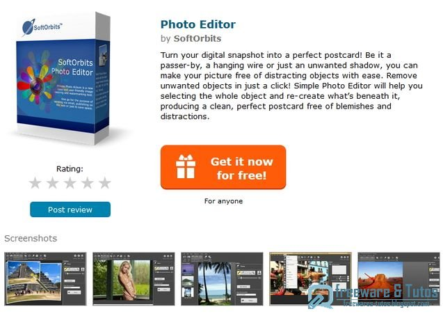 Offre promotionnelle : SoftOrbits Photo Editor gratuit !