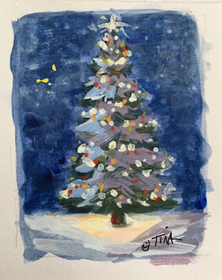 Tiny Christmas tree sketch, 2x2.5 inches, acrylic on paper, ©2020 Tina M.Welter