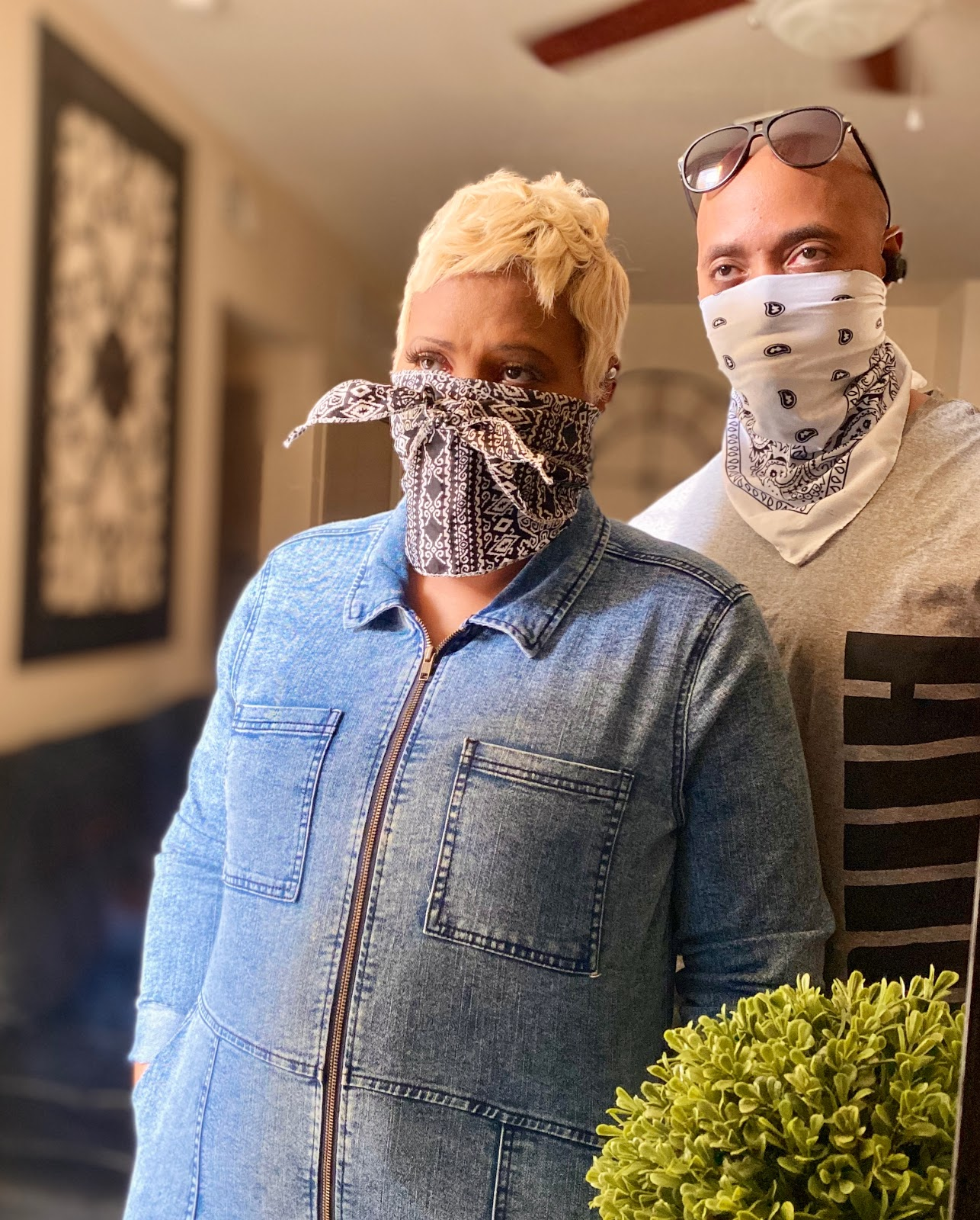 Marriage Babbles: Get Out The Bathroom. Rico and Tangie sharing their isolation mask outfits. Marriage Babbles: Get Out The Bathroom.