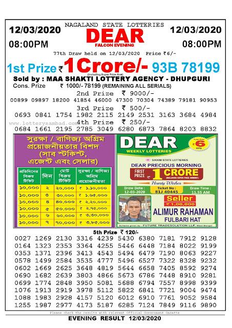 Lottery Sambad 12.03.2020 Nagaland Lottery Result 8 PM