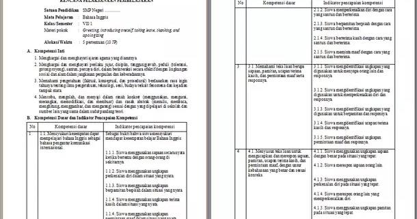 Rpp Bahasa Inggris Kelas 7 Kurikulum 2013 Revisi Terbaru Semester 1 Dan 2 Berkas Edukasi