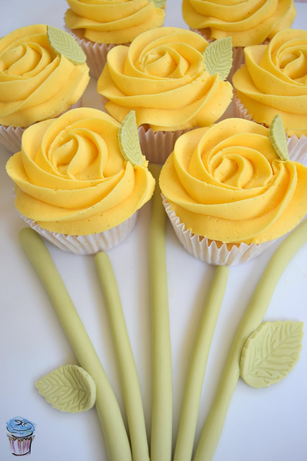 Spring cupcakes with yellow rose pipped buttercream for Mother's Day