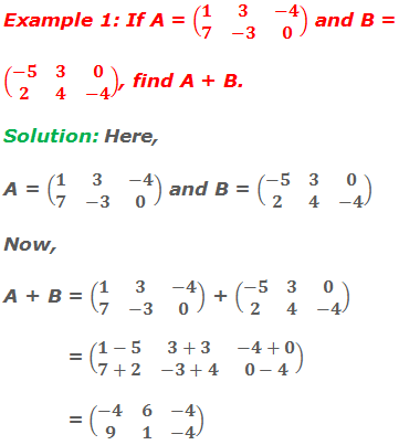 Example 1: If A = (■(1&3&-4@7&-3&0)) and B = (■(-5&3&0@2&4&-4)), find A + B. Solution: Here, A = (■(1&3&-4@7&-3&0)) and B = (■(-5&3&0@2&4&-4)) Now, A + B = (■(1&3&-4@7&-3&0)) + (■(-5&3&0@2&4&-4))            = (■(1-5&3+3&-4+0@7+2&-3+4&0-4))            = (■(-4&6&-4@9&1&-4))