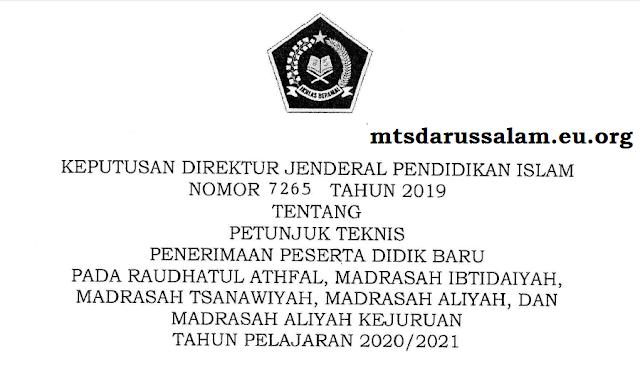Juknis PPDB Tingkat (RA, MI, MTS, MA Dan MAK) Kemenag Tahun Pelajaran 2020-2021