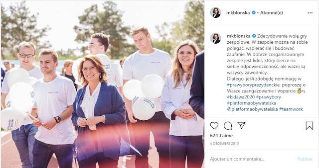 Małgorzata Kidawa-Błońska idzie na czele swojego sztabu wyborczego