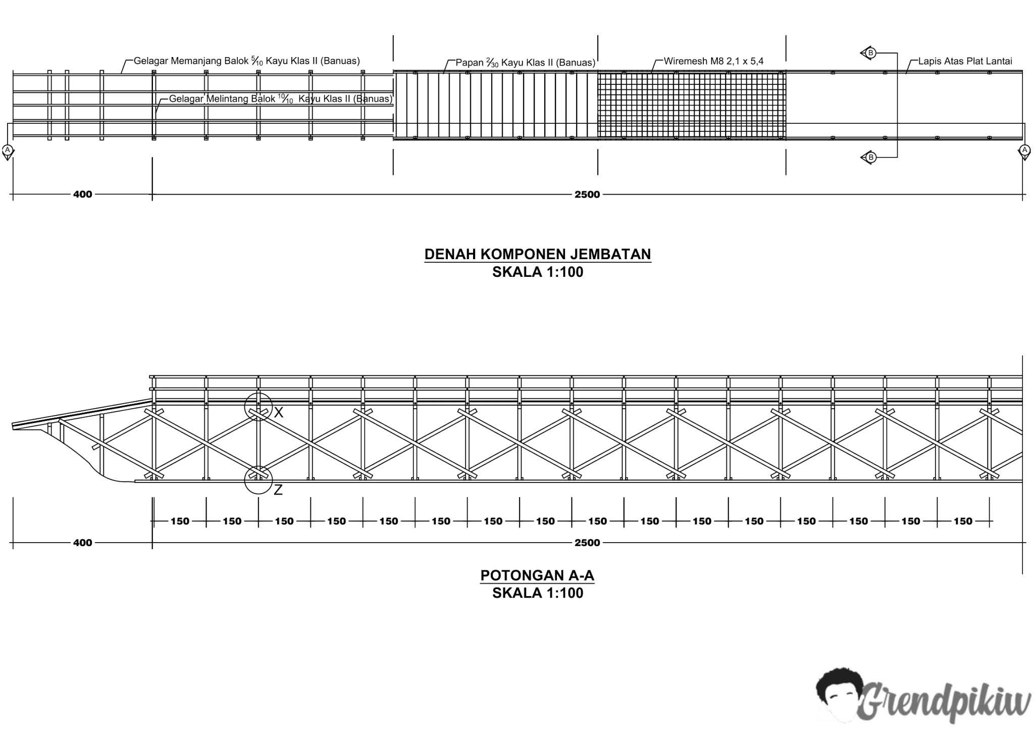 gambar kerja jembatan dwg