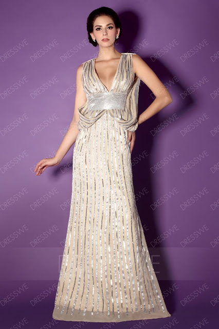 Sequins Mermaid V-Neck Floor-Length Mother of the Bride Dress