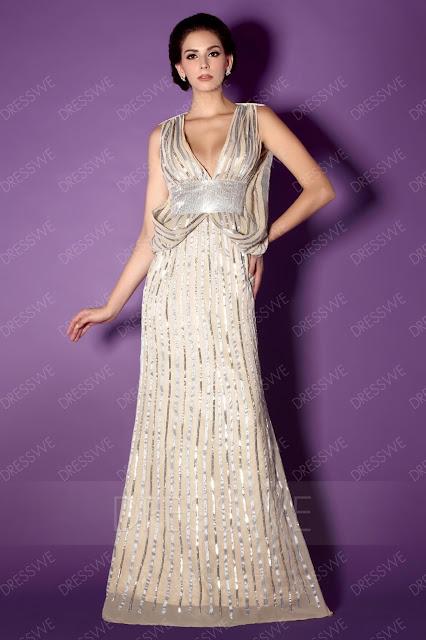 Sequins Mermaid V-Neck Floor-Length Mother of the Bride Dress
